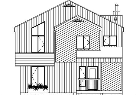 Narrow Lot House Plan 49296 with 4 Beds, 2 Baths Rear Elevation