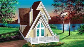 A-Frame House Plan 49303 with 3 Beds, 1 Baths Elevation