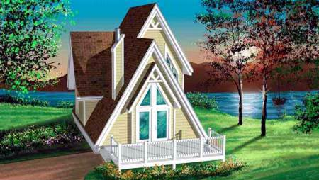 A-Frame, Narrow Lot House Plan 49303 with 3 Beds, 1 Baths Elevation
