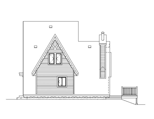 A-Frame, Narrow Lot House Plan 49303 with 3 Beds, 1 Baths Picture 1