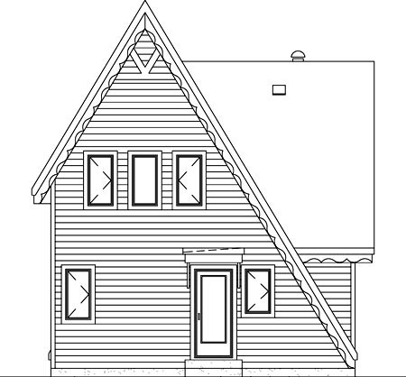 A-Frame, Narrow Lot House Plan 49303 with 3 Beds, 1 Baths Rear Elevation