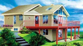House Plan 49304   Contemporary Style Plan with 971 Sq Ft, 3 Bedrooms, 1 Bathrooms Elevation