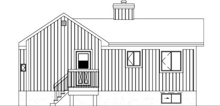 Contemporary Rear Elevation of Plan 49305