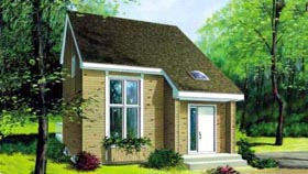 House Plan 49306 | Contemporary Style Plan with 1113 Sq Ft, 2 Bedrooms, 2 Bathrooms Elevation
