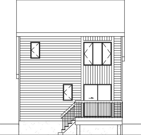 Contemporary, Narrow Lot House Plan 49306 with 2 Beds, 2 Baths Rear Elevation