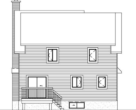 Narrow Lot , Rear Elevation of Plan 49313