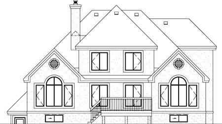European House Plan 49321 Rear Elevation