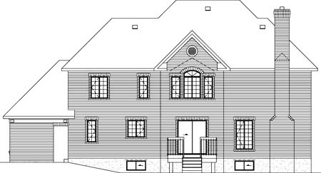 European House Plan 49325 Rear Elevation