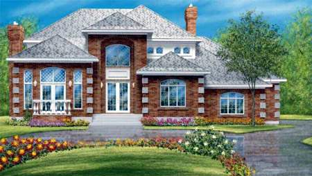 European House Plan 49326 Elevation