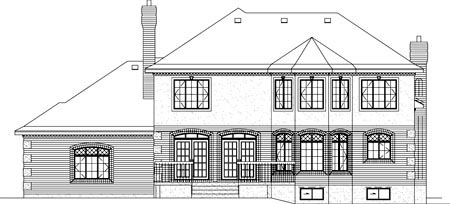European House Plan 49326 Rear Elevation