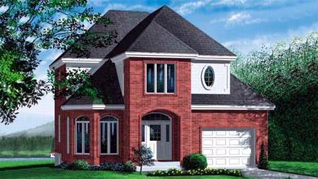 European House Plan 49327 with 3 Beds, 2 Baths, 1 Car Garage Elevation