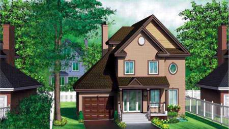 Craftsman, Narrow Lot House Plan 49328 with 3 Beds, 3 Baths, 1 Car Garage Elevation