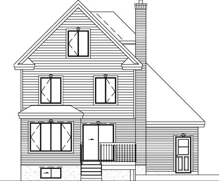 Craftsman, Narrow Lot House Plan 49328 with 3 Beds, 3 Baths, 1 Car Garage Rear Elevation