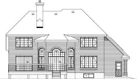 European House Plan 49330 Rear Elevation