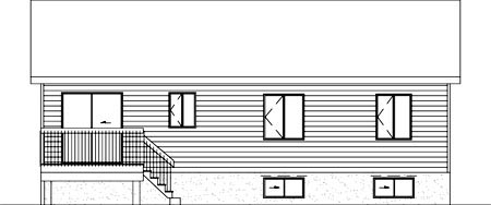 Colonial House Plan 49336 with 2 Beds, 1 Baths Rear Elevation