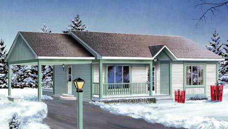 Ranch House Plan 49337 with 2 Beds, 1 Baths, 1 Car Garage Elevation