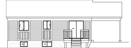 Ranch House Plan 49337 with 2 Beds, 1 Baths, 1 Car Garage Rear Elevation