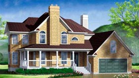 House Plan 49338   Farmhouse Style Plan with 2799 Sq Ft, 4 Bedrooms, 3 Bathrooms, 2 Car Garage Elevation