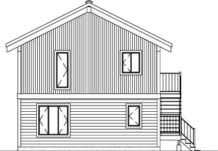 Contemporary , Narrow Lot , Rear Elevation of Plan 49339