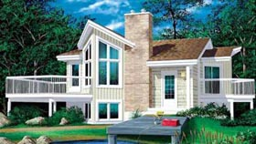 Contemporary House Plan 49340 with 1 Beds, 1 Baths Elevation