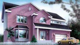 Colonial House Plan 49345 with 4 Beds, 4 Baths, 1 Car Garage Elevation