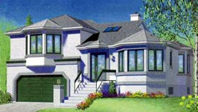 House Plan 49347 | Contemporary Style Plan with 1863 Sq Ft, 3 Bedrooms, 2 Bathrooms, 2 Car Garage Elevation