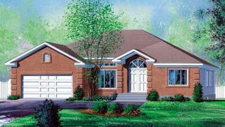 Traditional House Plan 49365 with 3 Beds, 1 Baths, 2 Car Garage Elevation
