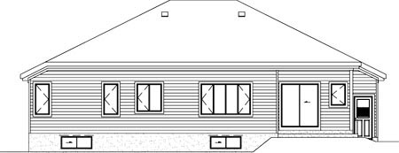 Traditional House Plan 49365 with 3 Beds, 1 Baths, 2 Car Garage Rear Elevation