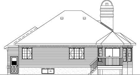 European House Plan 49366 Rear Elevation