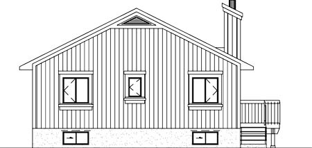 Contemporary Narrow Lot Rear Elevation of Plan 49368