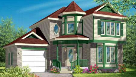 Narrow Lot, Victorian House Plan 49369 with 3 Beds, 2 Baths, 1 Car Garage Elevation