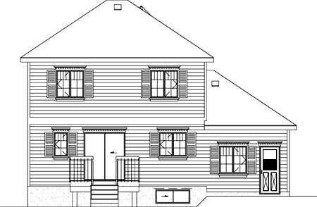 Narrow Lot, Victorian House Plan 49369 with 3 Beds, 2 Baths, 1 Car Garage Rear Elevation