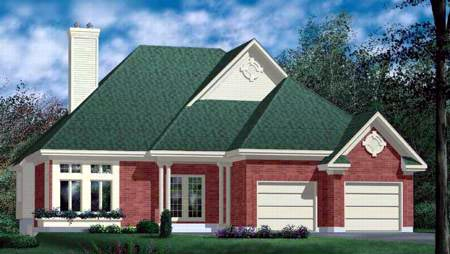 European House Plan 49370 with 2 Beds, 2 Baths, 2 Car Garage Elevation