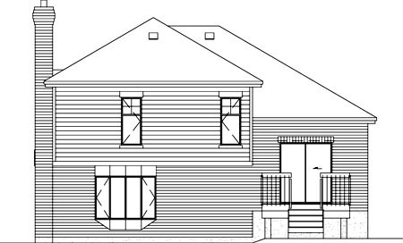 Traditional House Plan 49379 with 3 Beds, 2 Baths, 1 Car Garage Rear Elevation