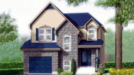 Narrow Lot, Tudor House Plan 49382 with 3 Beds, 2 Baths, 1 Car Garage Elevation