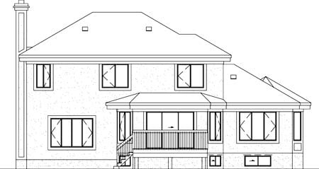 European House Plan 49384 Rear Elevation
