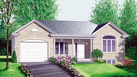 One-Story, Ranch House Plan 49386 with 3 Beds, 1 Baths, 1 Car Garage Elevation