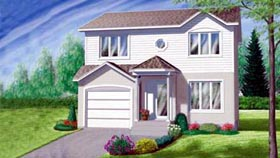 House Plan 49389 | Colonial Style Plan with 1386 Sq Ft, 3 Bedrooms, 2 Bathrooms, 1 Car Garage Elevation