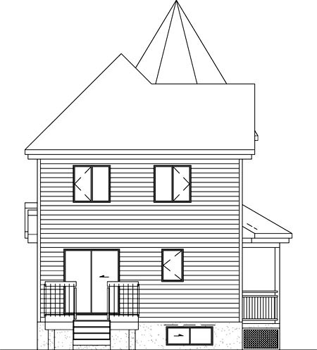 Victorian House Plan 49407 with 3 Beds, 2 Baths Rear Elevation
