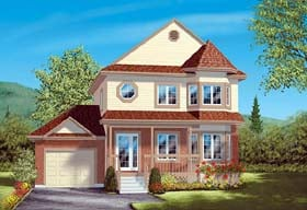 House Plan 49411 | Victorian Style Plan with 1588 Sq Ft, 3 Bedrooms, 2 Bathrooms, 1 Car Garage Elevation