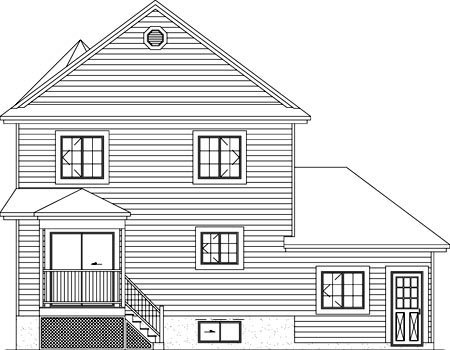 House Plan 49411 | Victorian Style Plan with 1588 Sq Ft, 3 Bedrooms, 2 Bathrooms, 1 Car Garage Rear Elevation