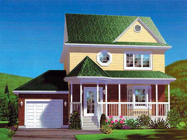 Craftsman, Narrow Lot House Plan 49413 with 3 Beds, 2 Baths, 1 Car Garage Elevation