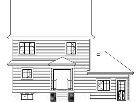 Craftsman, Narrow Lot House Plan 49413 with 3 Beds, 2 Baths, 1 Car Garage Rear Elevation