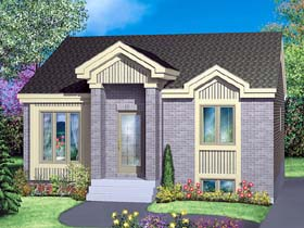 House Plan 49423 | Traditional Style Plan with 814 Sq Ft, 2 Bedrooms, 1 Bathrooms Elevation