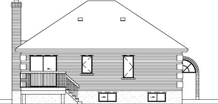 European House Plan 49427 Rear Elevation