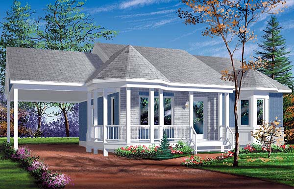 Narrow Lot, One-Story, Victorian House Plan 49430 with 2 Beds, 1 Baths, 1 Car Garage Elevation