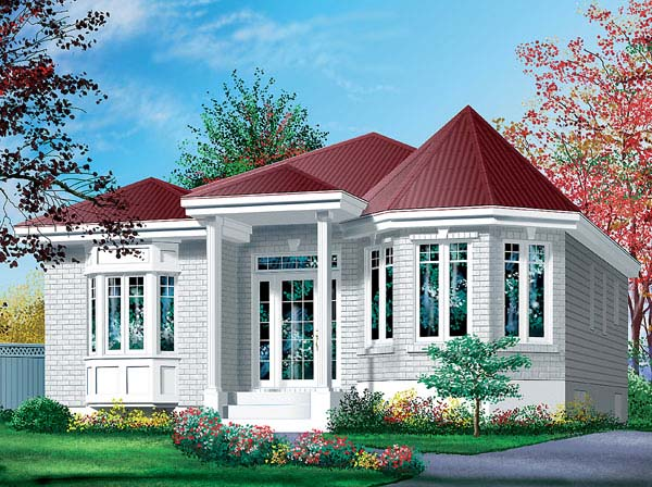 House Plan 49432 | Victorian Style Plan with 1004 Sq Ft, 2 Bedrooms, 1 Bathrooms Elevation