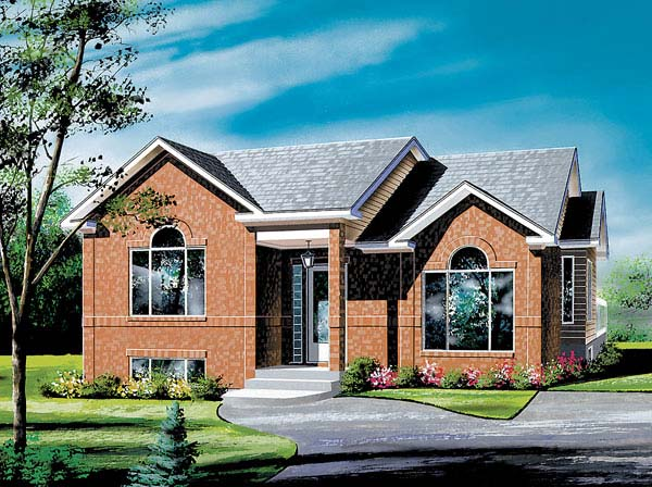 European, Narrow Lot, One-Story House Plan 49433 with 3 Beds, 1 Baths Front Elevation