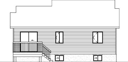 European House Plan 49433 Rear Elevation