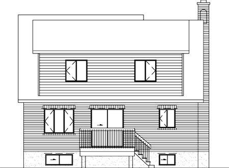 European House Plan 49434 Rear Elevation